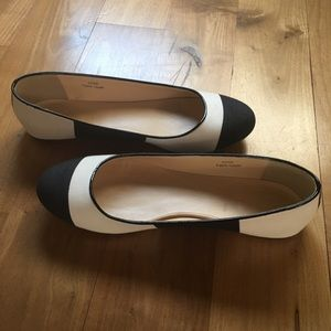 J.Crew black and white canvas flats.
